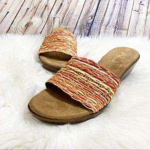 A2 by Aerosoles slide sandals orange gold size 8.5
